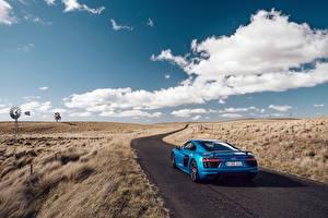 Фотографии Дороги Небо Audi Вид Облака R8 V10 Plus Авто