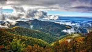 Фотографии США Пейзаж Горы Лес Осень Облачно Pisgah National Forest Природа
