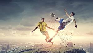 Обои для рабочего стола Футбол Мужчина Двое Мяч Ноги Гольфах Спорт