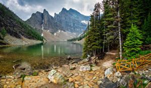 Картинки Канада Парк Гора Озеро Камни Пейзаж Банф Деревья Lake Agnes