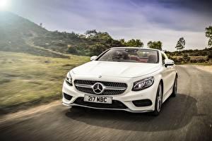 Картинка Mercedes-Benz Белый Спереди Кабриолет S 500 AMG Автомобили