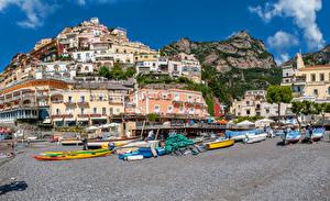 Фотографии Италия Здания Горы Побережье Лодки Позитано