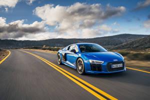 Картинки Дороги Audi Едущий Синяя R8 Автомобили