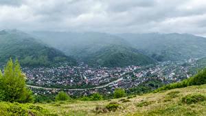 Фотографии Украина Здания Гора Тумане Rakhov Zakarpattia Oblast Города