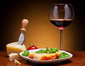 Обои Натюрморт Вино Сыры Лазанья Бокал Тарелка Пища