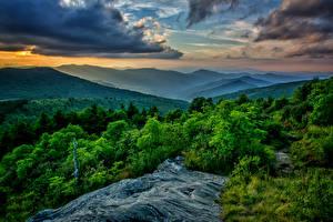 Картинка Пейзаж Гора Небо Деревьев Облако Природа