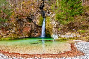 Обои Словения Водопады Скала Grmečica waterfall Bohinj