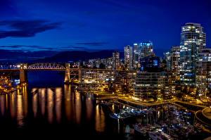 Картинки Канада Здания Реки Мосты Пристань Парусные Ванкувер Ночь Города