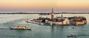 Картинка Италия Здания Остров Море Речные суда Венеция church of San Giorgio Maggiore Города