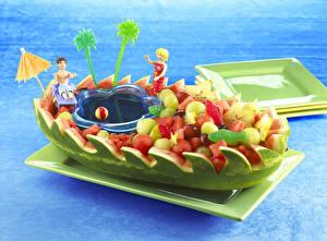 Обои Арбузы Корабли Тропики Дизайн Еда