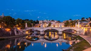 Картинки Рим Италия Речка Мосты Здания Ночные Уличные фонари