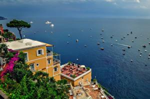 Фотографии Побережье Море Италия Здания Амальфи Природа