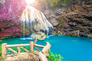 Обои Таиланд Водопады Утес