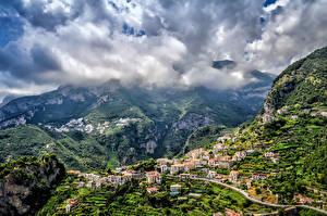 Обои Горы Дома Италия Амальфи Облака Природа Города