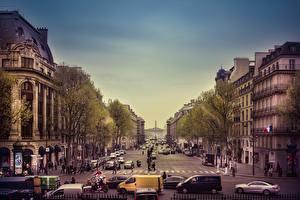 Обои Франция Дома Париж Городская площадь Madeleine Square Города фото