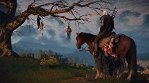 Обои The Witcher 3: Wild Hunt Лошади Мужчины Воители Геральт из Ривии Игры Фэнтези 3D_Графика фото