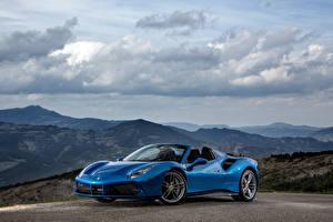 Обои Ferrari Гора Облака Синих Кабриолета 488 Spider машина