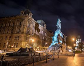 Картинки Польша Дома Памятники Краков Улица Ночные Уличные фонари Grunwald Monument Города