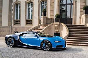 Обои BUGATTI Голубой Металлик Роскошные 2016 Chiron Автомобили фото