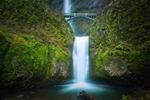 Фото Мосты Водопады Реки США Multnomah falls, Benson Bridge, Columbia River Gorge, Oregon Природа