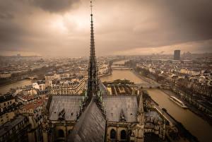 Фотография Дома Франция Париж Сверху Водный канал Notre Dame Города