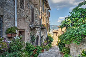 Картинки Италия Здания Улица Umbria Города