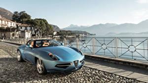 Фотографии Alfa Romeo Голубые Кабриолета 2016 Carrozzeria Touring Disco Volante spyder Автомобили