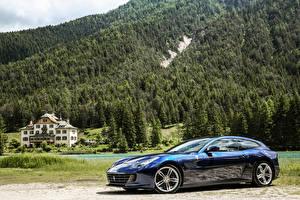 Фотография Феррари Леса Синяя Металлик 2016 GTC4 Lusso Автомобили