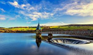 Картинки Великобритания Небо Водопады Речка Мосты Wales Brecon