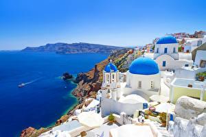 Обои Греция Побережье Дома Santorini Города фото