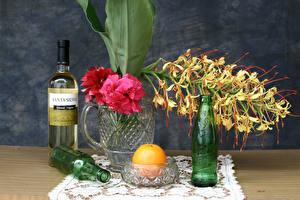 Фотографии Натюрморт Рододендрон Орхидея Апельсин Бутылки Кружке цветок