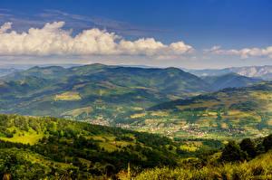 Фото Румыния Горы Пейзаж Облако Природа