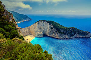 Обои Греция Побережье Море Сверху Скала Zakynthos Природа фото