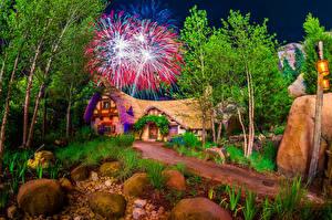 Фото Штаты Диснейленд Парк Здания Салют Камни Калифорнии Анахайм Дизайн HDR Ночные Дерево Природа