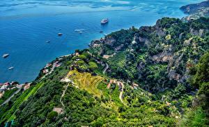 Картинки Италия Амальфи Сверху AmalfiVilla Cimbrone Природа Города