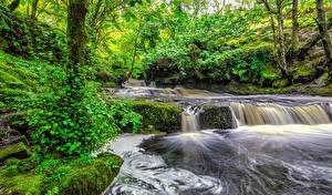 Картинка Великобритания Водопады Реки Wales Природа