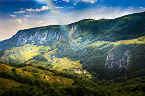Обои Румыния Горы Пейзаж Радуга