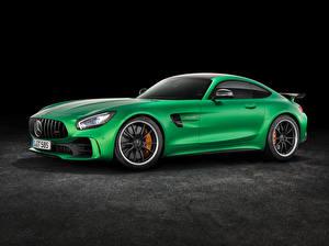 Картинки Mercedes-Benz Зеленый Сбоку AMG GT3 C190 Автомобили