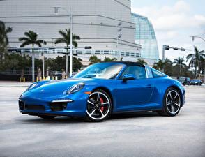 Фотографии Porsche Металлик Синий 2015–16 911 Targa 4S Автомобили