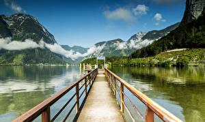 Картинки Австрия Озеро Пирсы Горы Пейзаж Халльштатт Природа