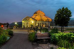 Фотография США Дома Скамья Ночью Дерево Minnesota Marjorie McNeely Conservatory Города