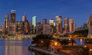 Картинки Австралия Дома Сидней Ночью Уличные фонари город