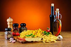 Фотографии Пряности Овощи Чеснок Макароны Бутылка Банка Еда