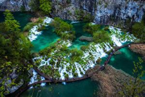 Фотография Хорватия Парки Водопады Реки Мосты Сверху Plitvice Lakes Природа
