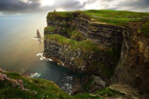 Обои Ирландия Побережье Скала Мох Galway Природа фото