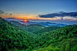 Фотография Рассветы и закаты Пейзаж Горы Леса Небо Солнце Природа