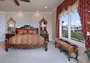 Обои Интерьер Дизайн Спальня Кровать Лампа Окно фото
