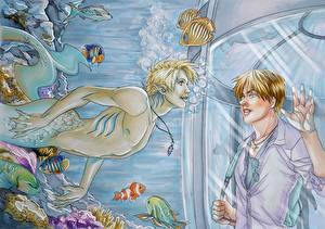 Картинки Подводный мир Русалка Двое Фэнтези