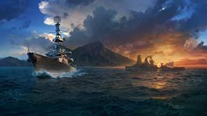 Картинка World Of Warship Корабль Облачно компьютерная игра