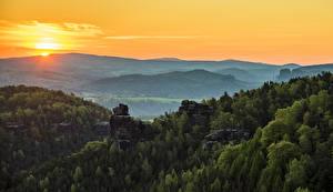 Фотография Германия Пейзаж Рассветы и закаты Горы Леса Gohrisch Природа